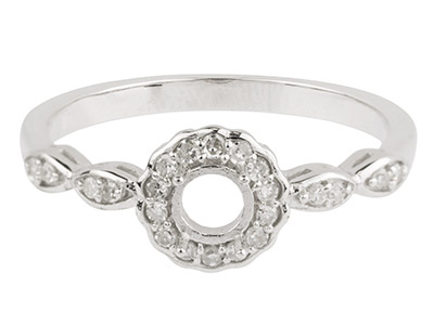 9ct White Gold Semi Set            Diamond Ring Mount Hallmarked 22   Round Total 0.13ct Centre To       Accommodate 4.0mm