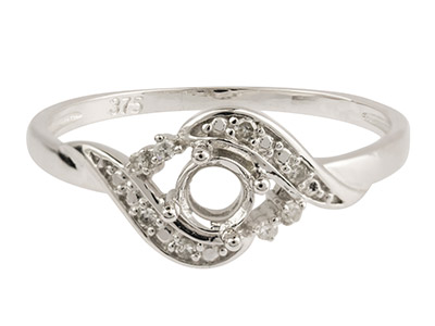 9ct White Gold Semi Set            Diamond Ring Mount Hallmarked 8    Round Total 0.04ct Centre To       Accommodate 4.0mm