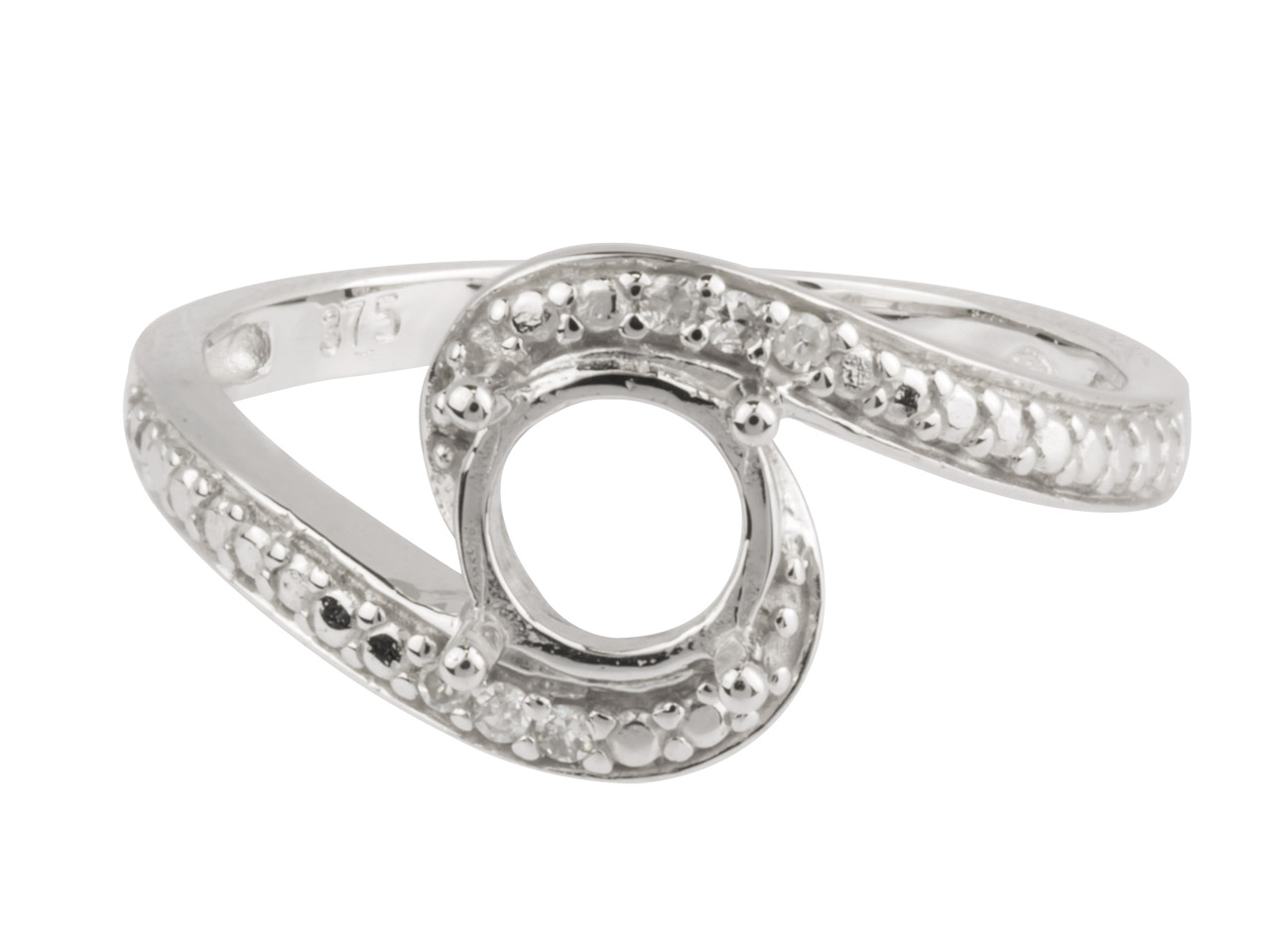 9ct White Semi Set Diamond Ring    Mount Hallmarked 6 Round Total     0.03ct Centre To Accommodate 6.0mm