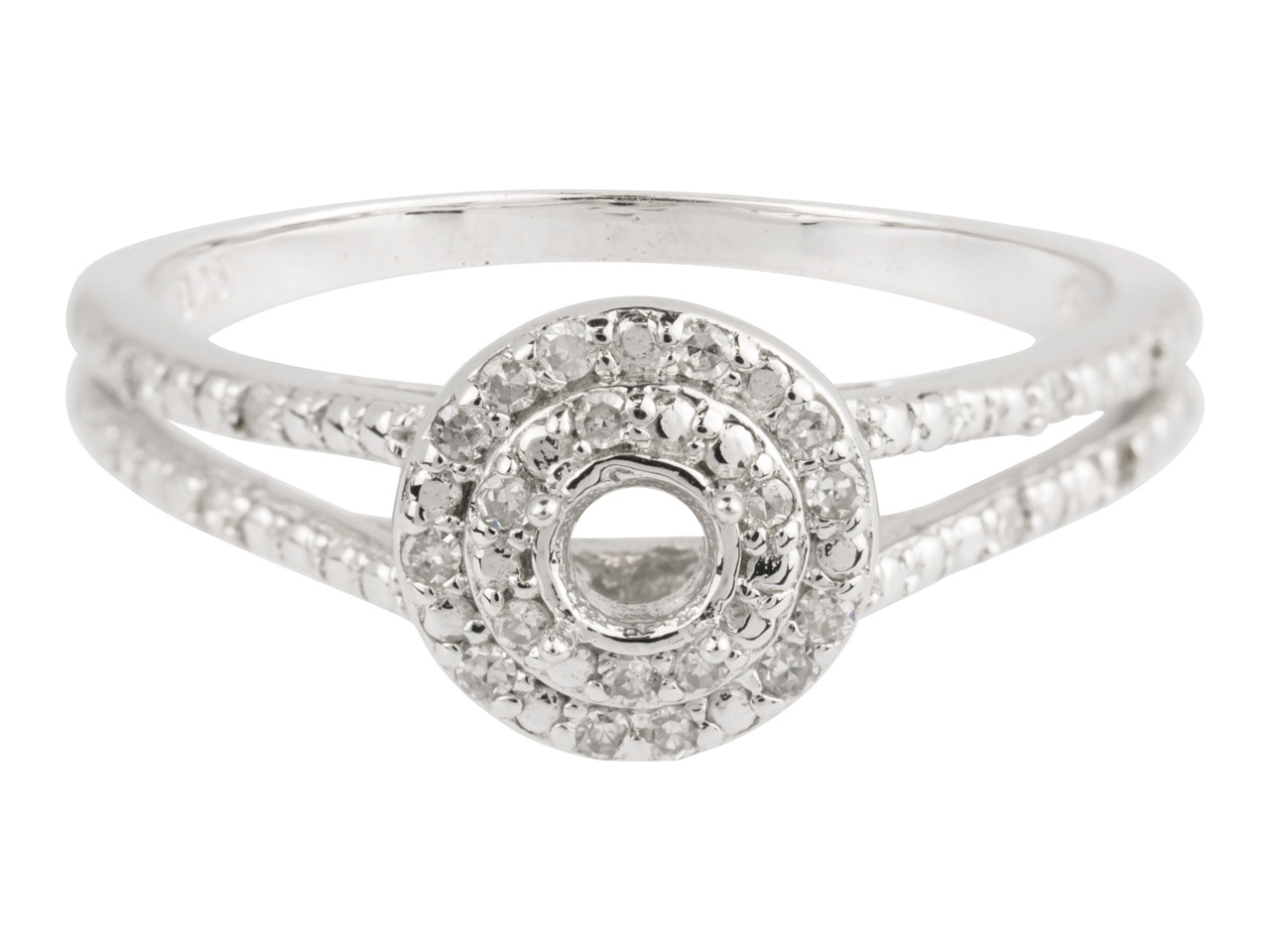 9ct White Semi Set Diamond Ring     Mount Hallmarked 26 Round Total     0.13ct Centre To Accommodate 3.25mm