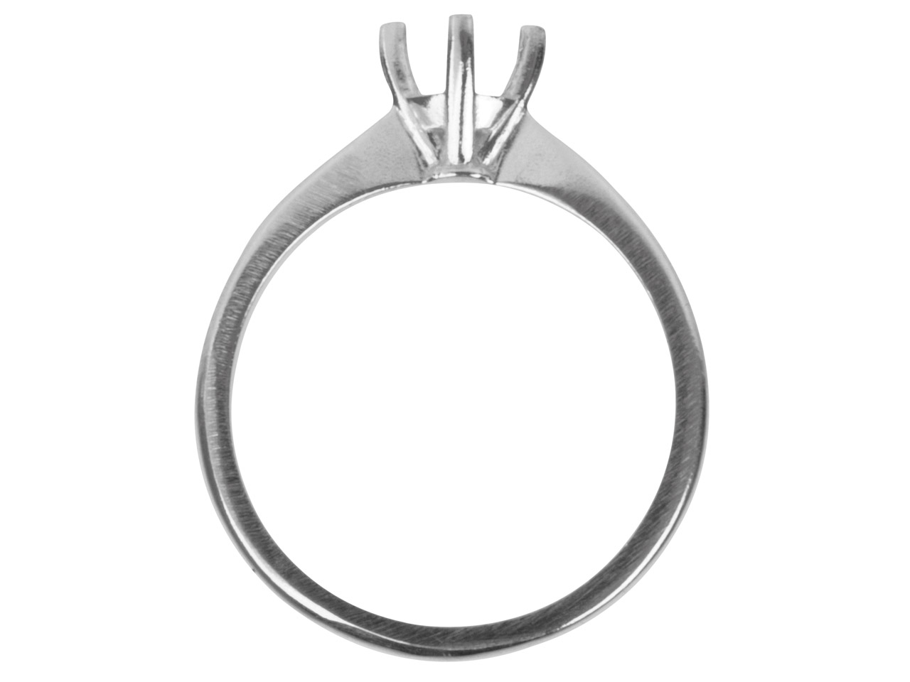 9ct White Round 4 Prong 5.0mm Ring Mount Hallmarked 50pt Size M