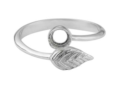 Sterling Silver Adjustable Ring    With Leaf And 4mm Cup