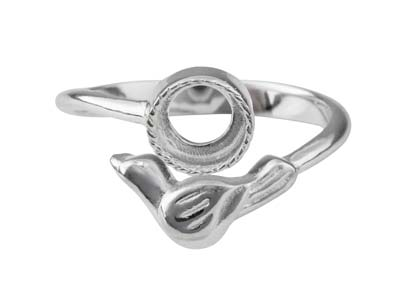 Sterling Silver Adjustable Ring    With Bird And 6mm Cup