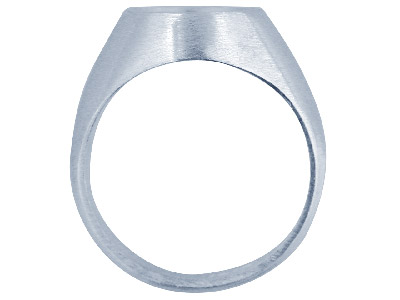 Silver Single Set Ring Refc27 Oval Rubover Setting 12x10mm Size Q