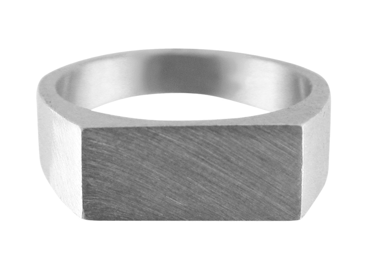 Sterling Silver G3 Initial         Rectangular Ring Unhallmarked      14x9mm Head Depth 1.2mm Size O
