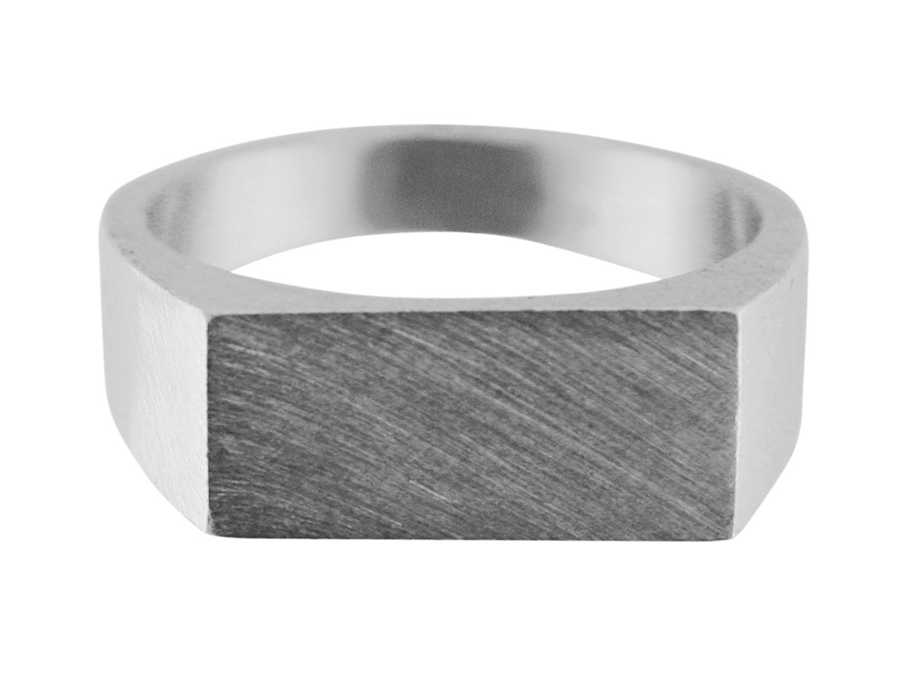 Sterling Silver G4 Initial         Rectangular Ring Hallmarked 14x8mm Head Depth 1.5mm Size O