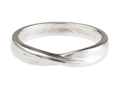 Sterling Silver Crossover Ring     3.5mm Wide Hallmarked Size N