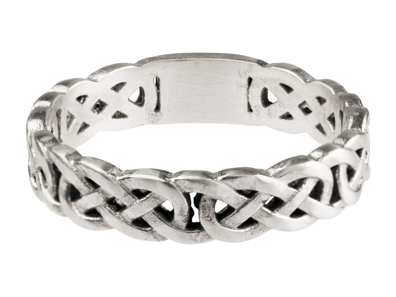 Sterling Silver Celtic Band Ring   4mm Wide Hallmarked Size O