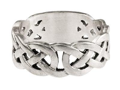 Sterling Silver Celtic Band Ring   8mm Wide Hallmarked Size R