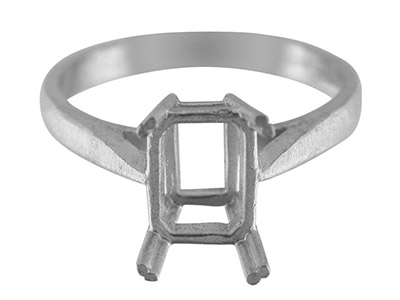 Sterling Silver N3 Dress Octagonal Ring 8x6mm Hallmarked Size N