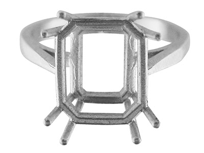 Sterling Silver N7 Dress Octagonal Ring 12x10mm Hallmarked Size O