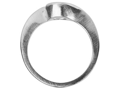 Sterling Silver Crossover Ring     Mount 75pt Ring Size M