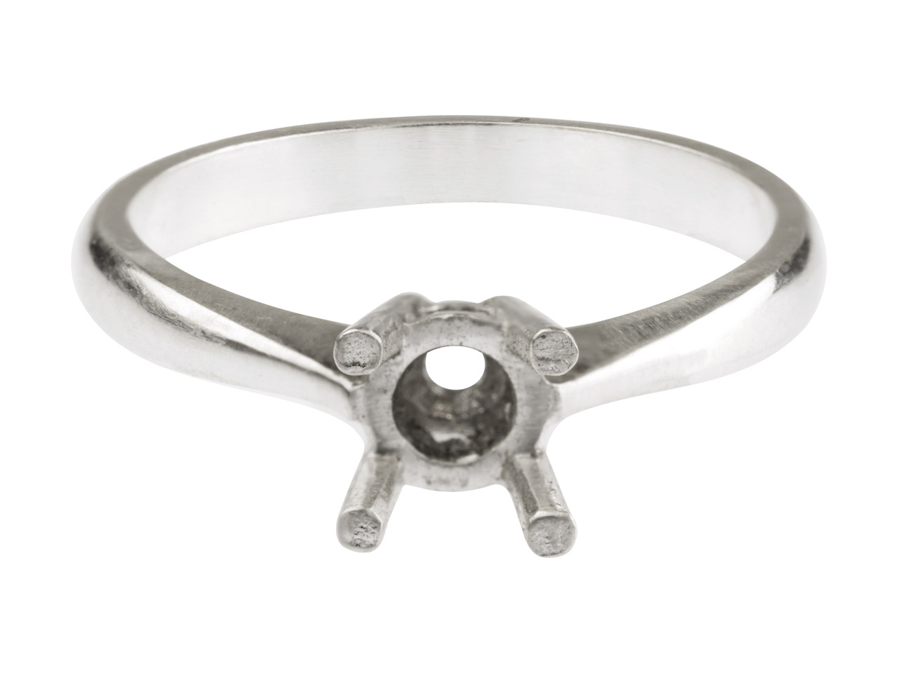 Sterling Silver Round 4 Claw Bezel Ring Mount Hallmarked 4.0mm 0.25pt Size M
