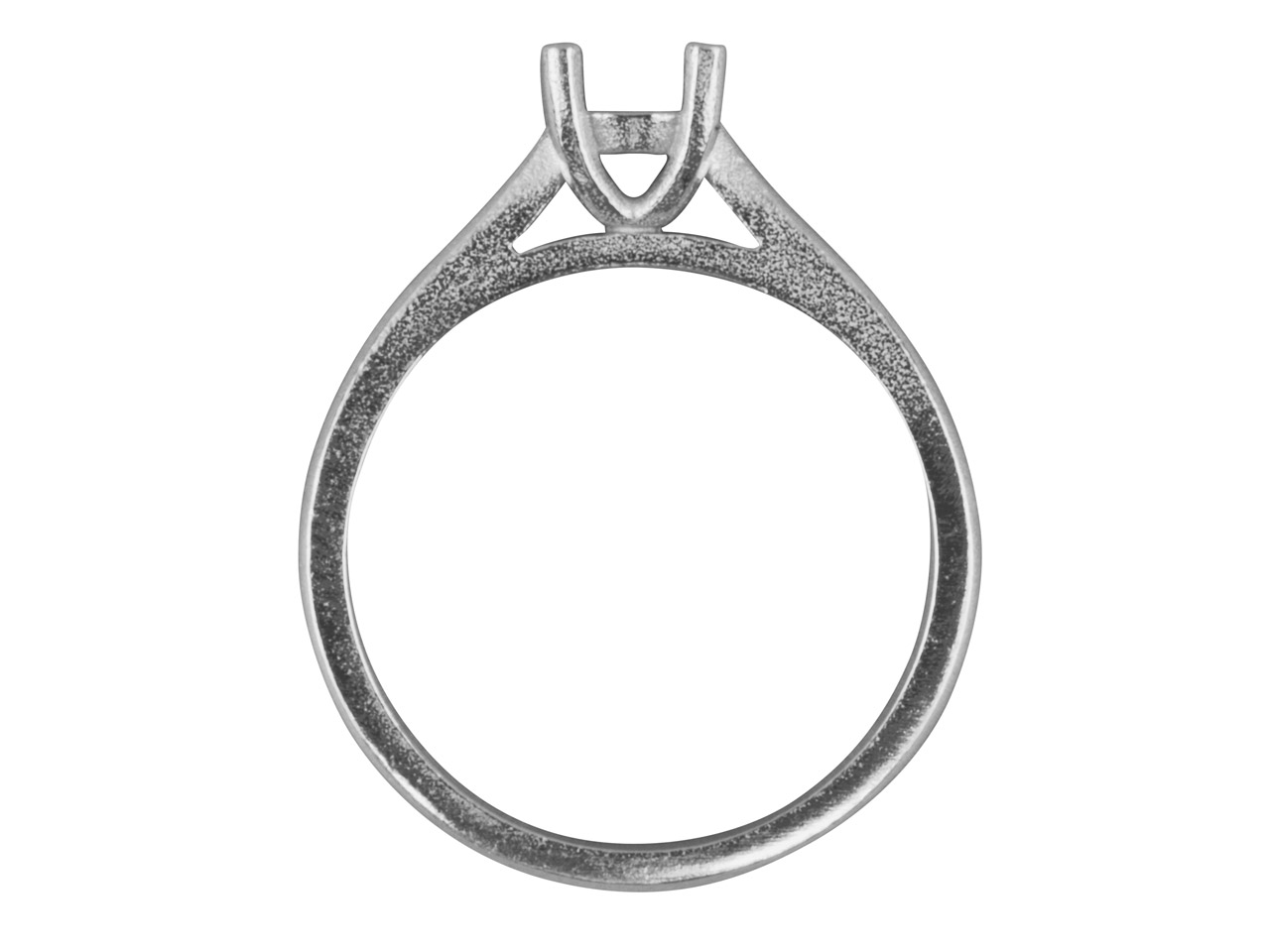 Platinum Round 4 Claw Double Bezel Ring Mount Hallmarked 4.5mm 33pt   Size M