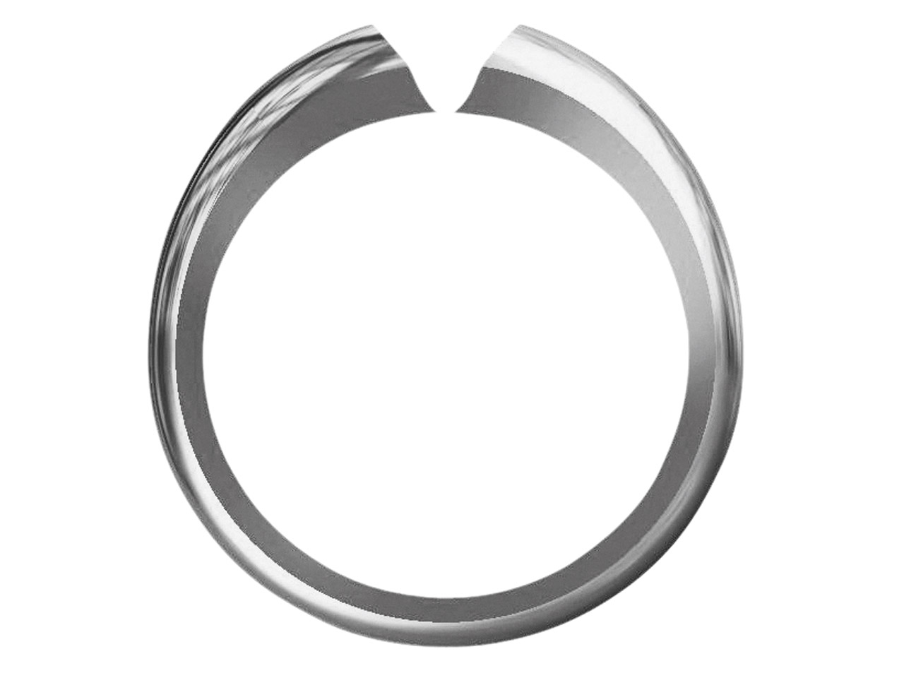 Platinum Heavy Ss52 D Shape Ring   Shank Size M
