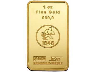 Fine Gold Bar 1oz, 31.1g, Stamped, Heimerle - Meule