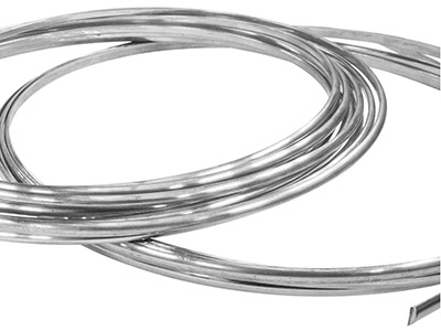 18ct Medium White D Shape Wire      4.00mm X 2.00mm 2618, 100 Recycled Gold