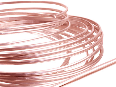 18ct Red Gold 5n D Shape Wire       6.00mm X 2.00mm, 100 Recycled Gold