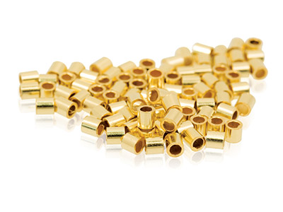 Gold Filled Plain Crimp Tube       Pack of 100, 1.2mm Inside Diameter X 2mm Long