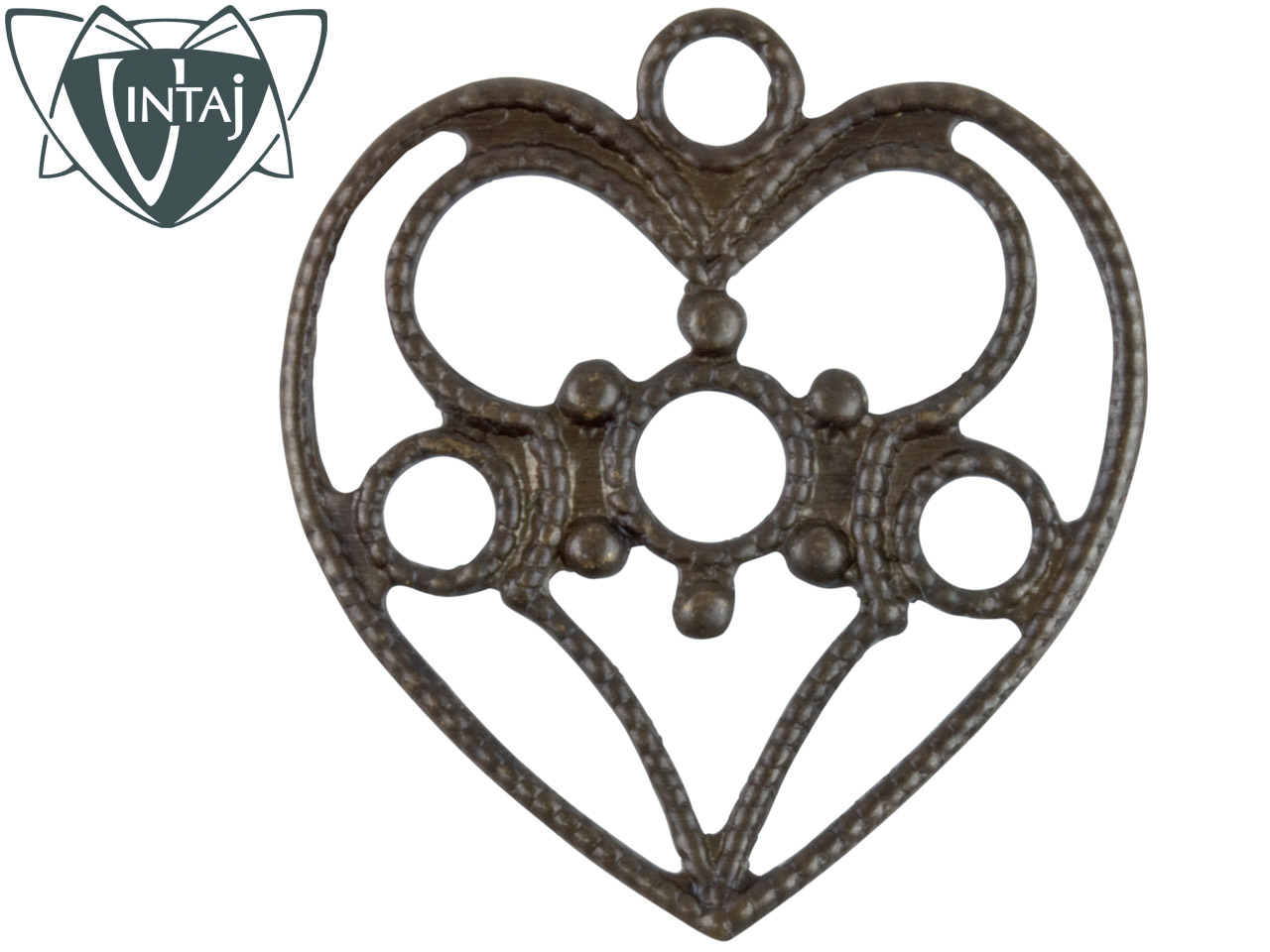 Vintaj Brass Delicate Heart,       Pack of 2