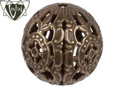 Vintaj Brass Round Filigree Bead Wrap