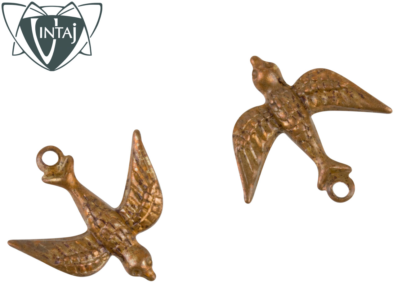 Vintaj Artisan Copper Watchful Bird 17x16.5mm Pack of 2