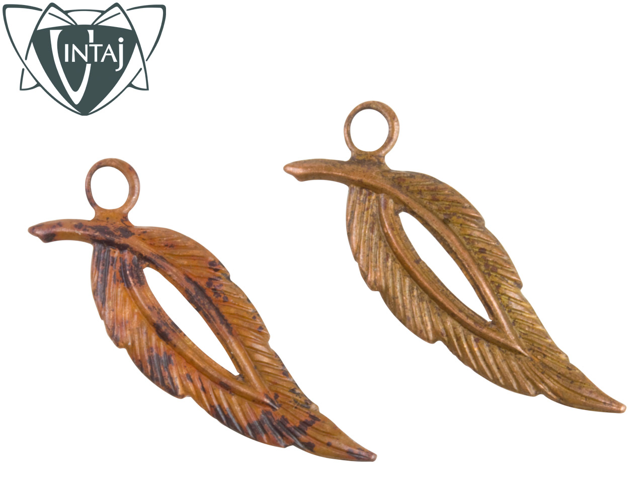 Vintaj Artisan Copper Open Leaf 28.5x9mm Pack of 2