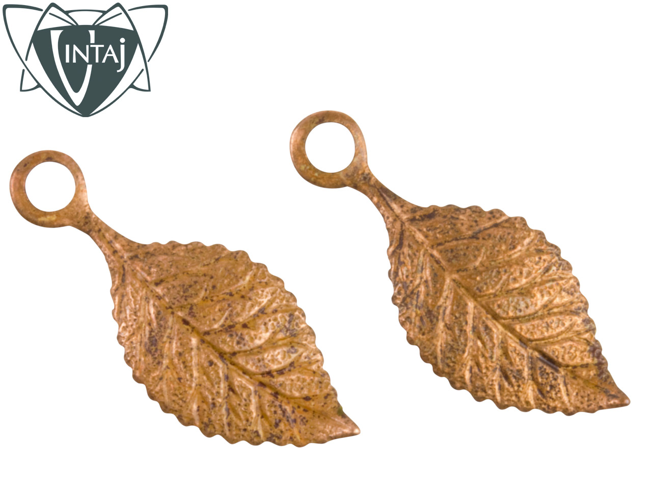 Vintaj Artisan Copper Spring Green Leaf 22.5x9mm Pack of 2