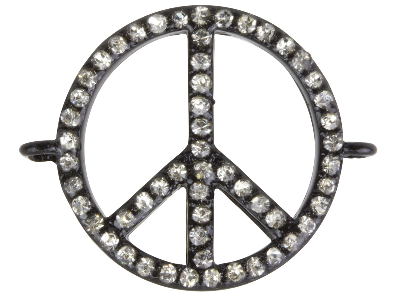 Black Plated Base Metal Peace      Connector, White Crystal