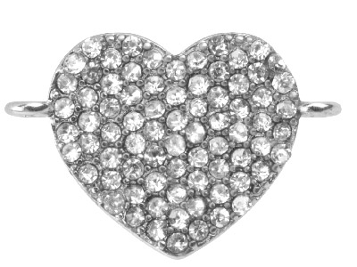 Silver Plated Base Metal Heart     Connector, White Crystal