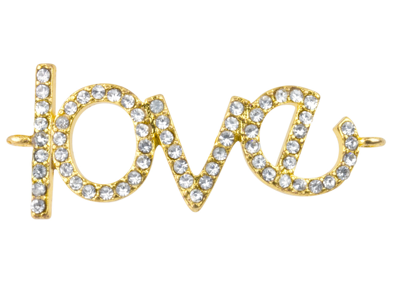 Gold Plated Base Metal 'love'      Connector, White Crystal