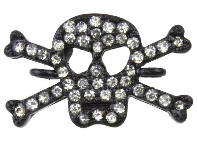 Black Plated Skull And Crossbones Connector