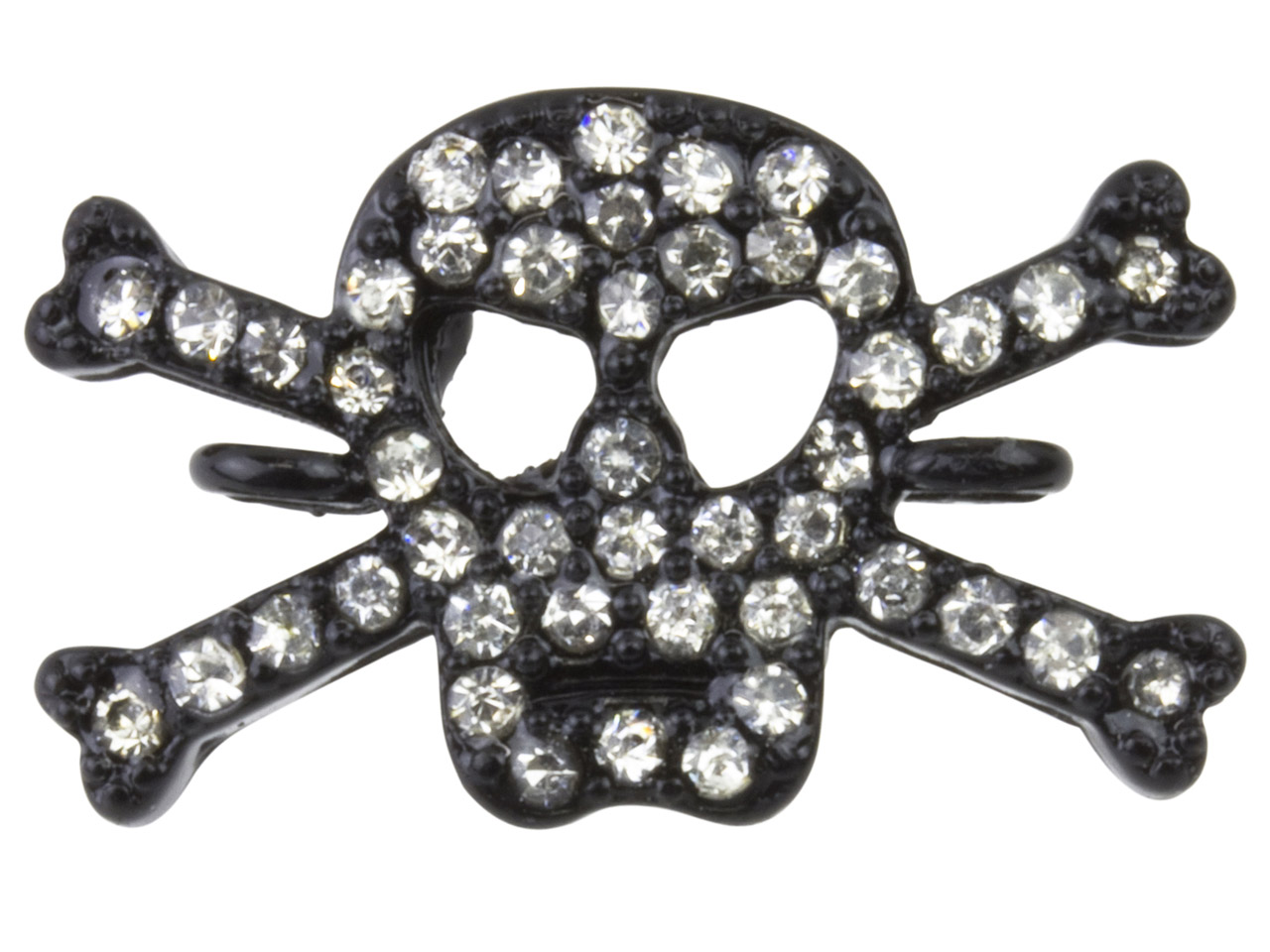 Black Plated Base Metal Skull And   Crossbones Connector, White Crystal
