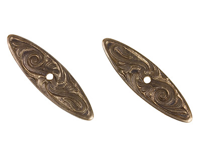 Vintaj Brass Nouveau Swirls Creative Toggle Bar 26x8mm Pack of 2