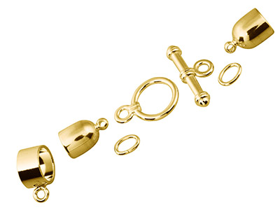 Kumihimo Bullet Finding Set 6mm    Gold Plated