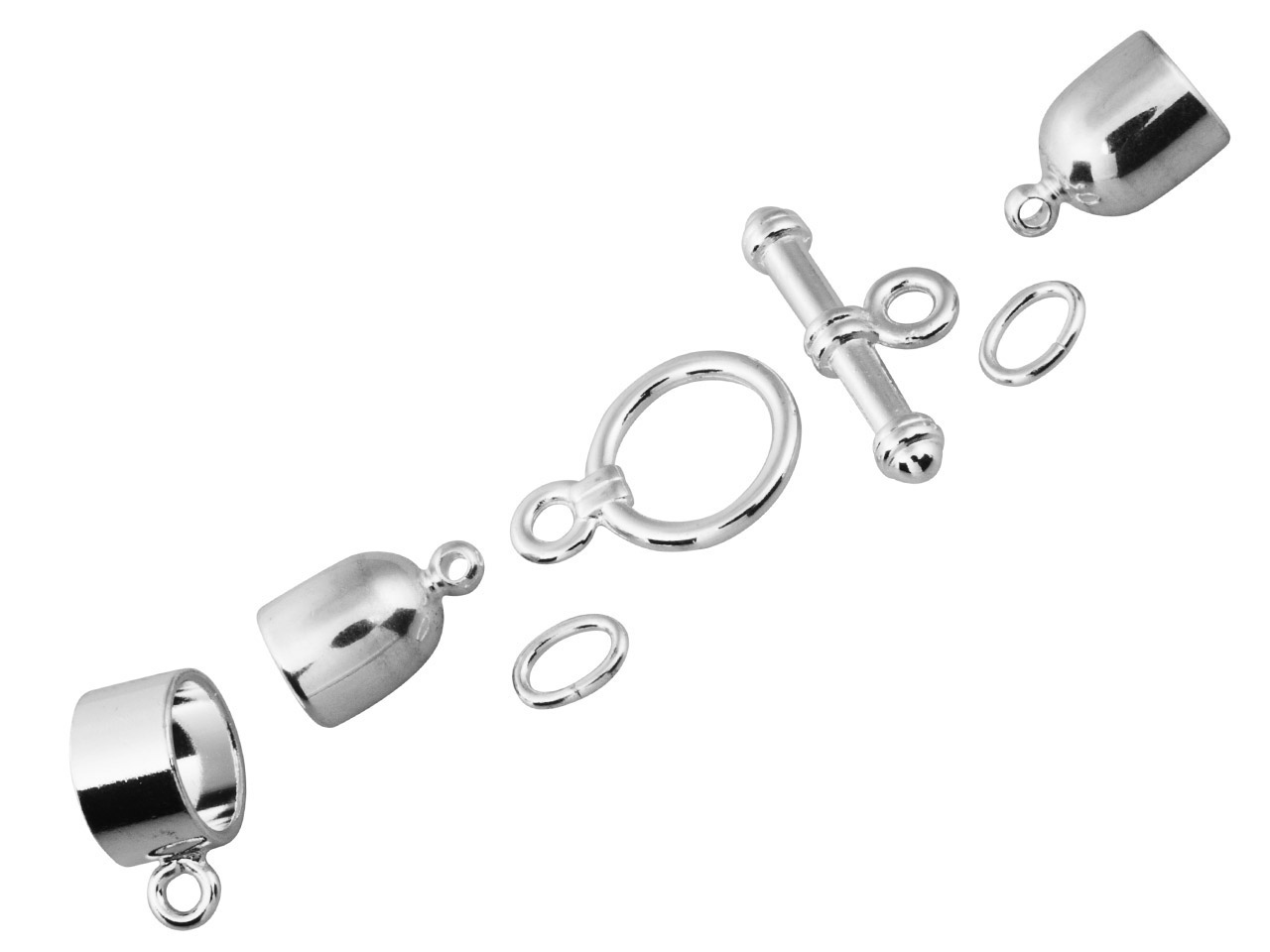 Kumihimo Bullet Finding Set 6mm    Silver Plated