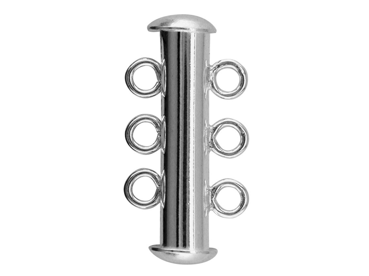 Silver Plated Slider Clasp         Pack of 10 6 Loop