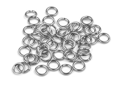 Pack of 100 5.0mm Round Jump Ring Silver Plated Gauge 0.95mm
