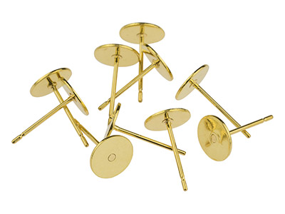 Gold Plated 7mm Flat Disc And Post, Pack of 10