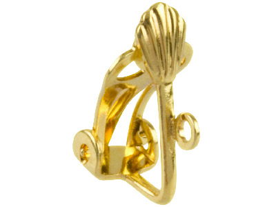 Gold Plated Fan Ear Clip Fitting   With Open Ring Pack of 10
