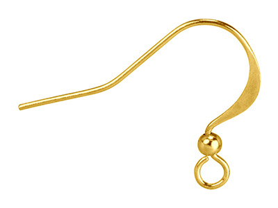Gold Plated Flat Hook Wire And Bead Pack of 10