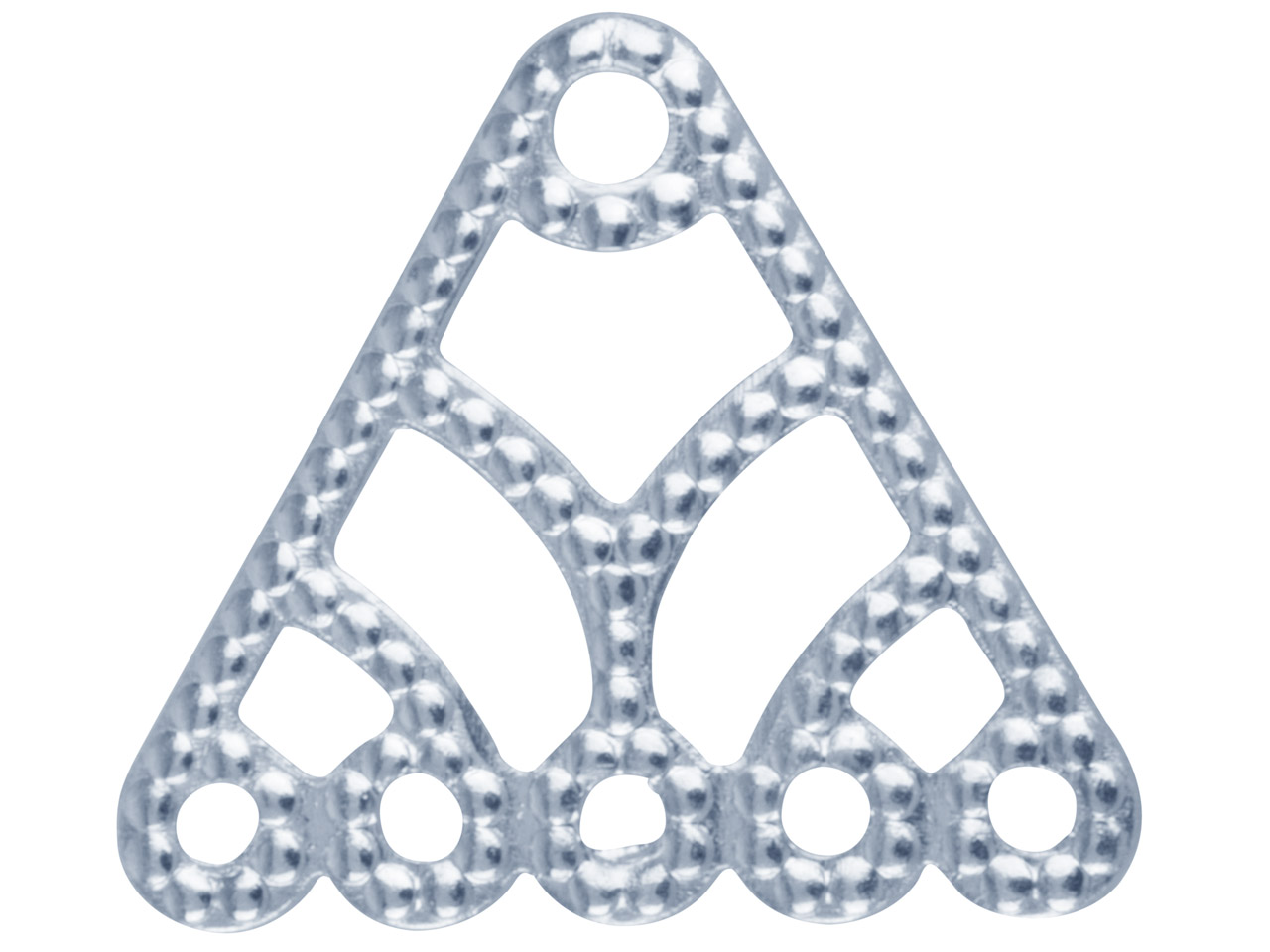 Silver Plated 5 Hole Triangle      Dropper Pack of 10