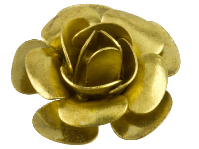 Pack of 10 Large Rose Fitting Unplated Brass