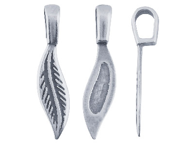 Feather Glue On Bail Pack of 10 Base Metal Silver Finish 27.8 X 6.7mm