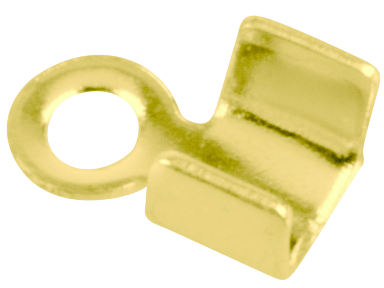 Gold Plated Small Fold Over End    Caps Pack of 10