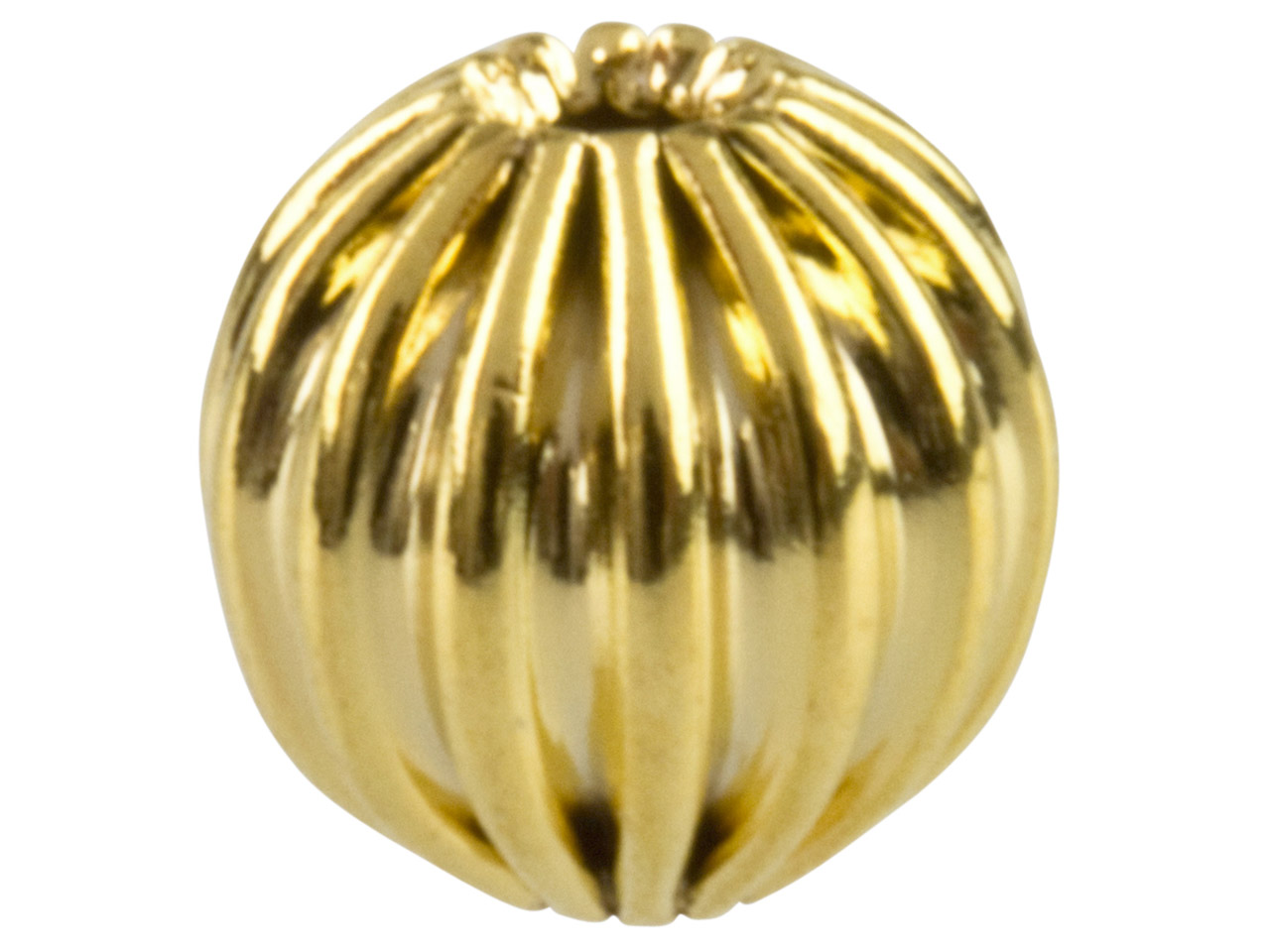 Gold Plated Corrugated Round Beads 5mm, 2 Hole, Pack of 25