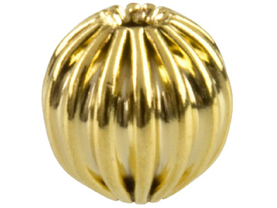 Pack of 25 6.0mm Corrugated Round Beads Gold Plat