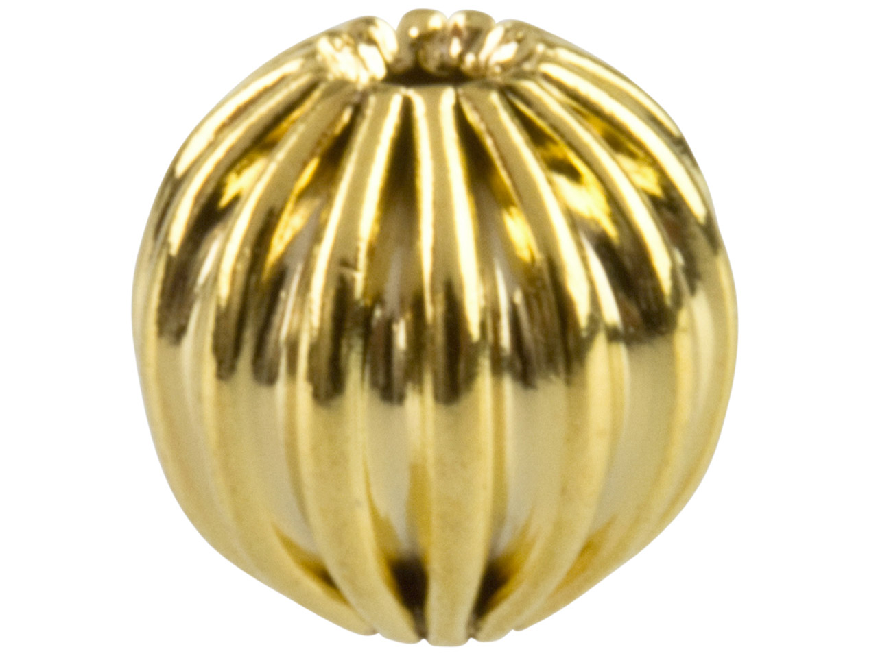 Gold Plated Corrugated Round Beads 6mm, 2 Hole, Pack of 25