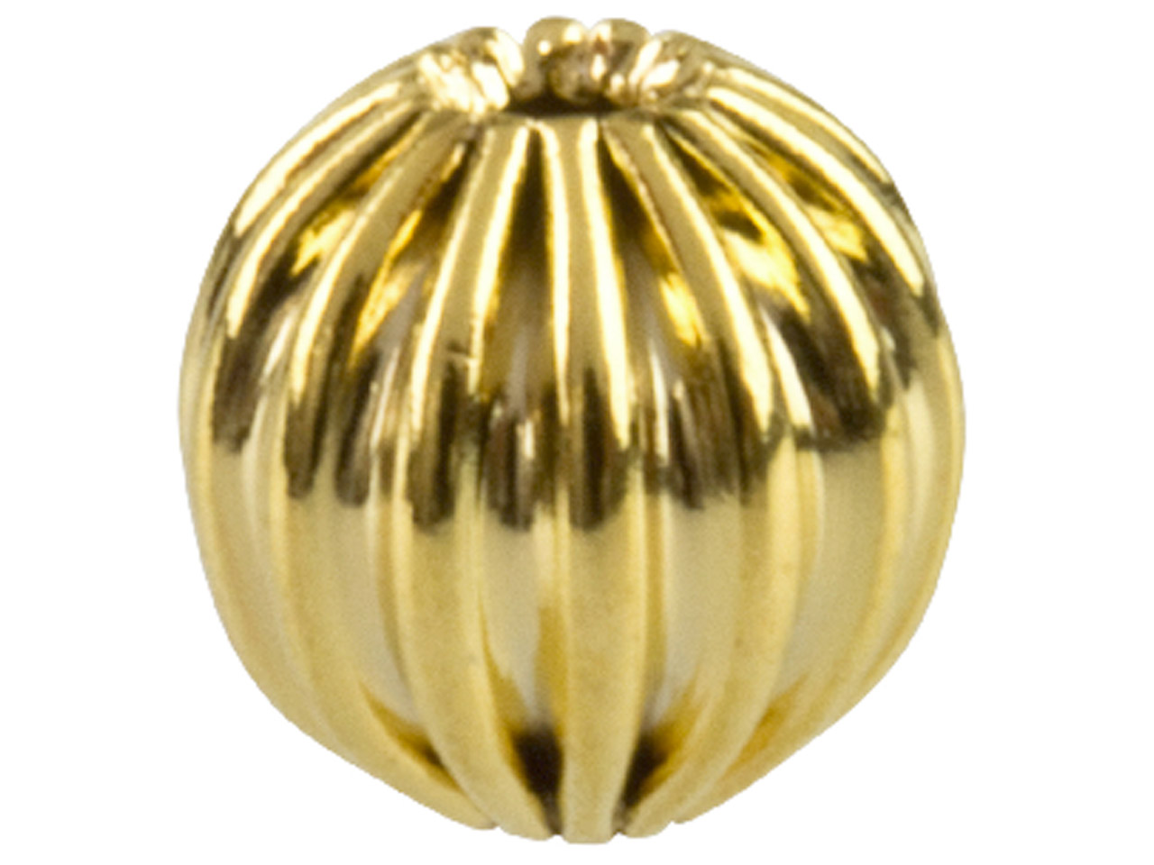 Gold Plated Corrugated Round Beads 8mm, 2 Hole, Pack of 10
