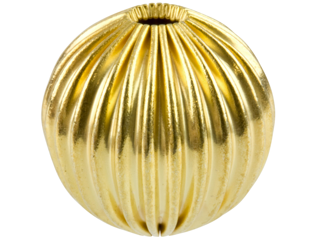 Gold Plated Corrugated Round Beads 10mm, 2 Hole, Pack of 6